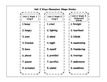 Benchmark Advance Unit 2 Spelling Lists
