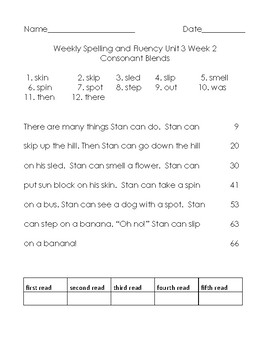 Benchmark Advance Unit 3 Spelling and Reading Fluency