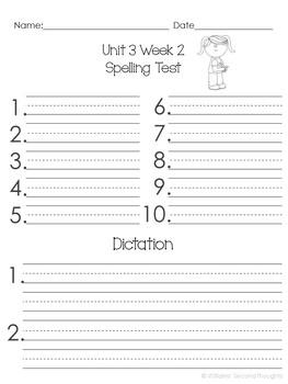 Benchmark Advance-Unit 3 Word Lists (Grade 2)