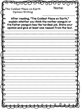 Benchmark Advance Unit 3 Writing Prompts (2nd Grade)