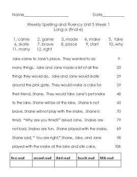 Benchmark Advance Unit 5 Spelling and Reading Fluency