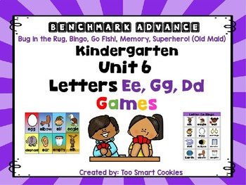 Benchmark Advance Unit 6 Center Games Letters Ee, Gg, & Dd  (5 games)