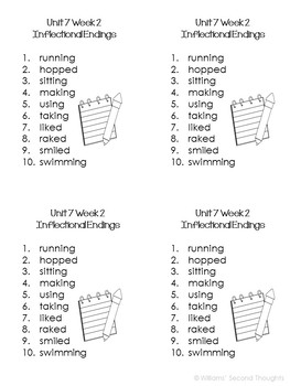Benchmark Advance-Unit 7 Word Lists (Grade 2)