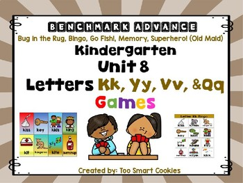 Benchmark Advance Unit 8 Center Games Letters Kk, Yy, Vv, Qq  (5 games)