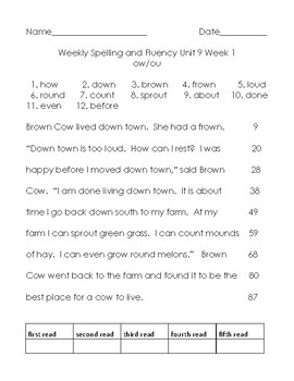 Benchmark Advance Unit 9 Spelling and Reading Fluency