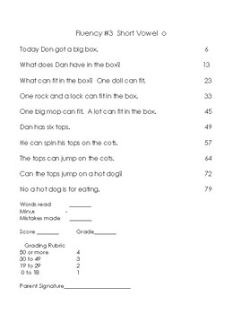 Benchmark Advance Weekly Fluency Test