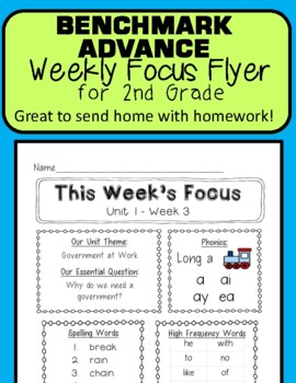 Benchmark Advance Weekly Focus Flyer 2nd Grade Units 1-10