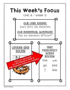 Benchmark Advance Weekly Focus Flyer for Kindergarten Units 1-10