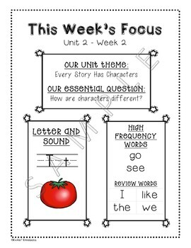 Benchmark Advance Weekly Focus Flyer for Kindergarten (Ca. and National)