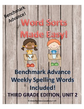 Benchmark Advance Weekly Spelling Word Sorts, Unit 2