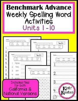 Benchmark Advance Weekly Spelling Words Activities for First Grade