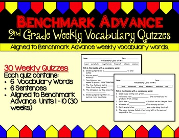 Benchmark Advance Weekly Vocabulary Quizzes - Grade 2 (2nd Grade)