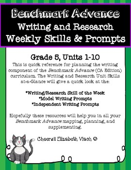 Benchmark Advance Weekly Writing and Research Skills & Prompts* Grade 5