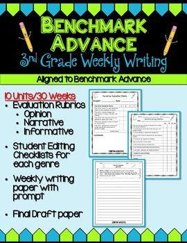 Benchmark Advance Third Grade Weekly Writing - Units 1 - 10 (B.A. Companion)