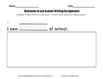 Benchmark Advance Writing Assignment Kindergarten  Welcome to our School