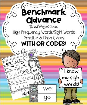 Benchmark Advance for Kindergarten High Frequency Sight Word Practice W QR Codes