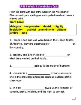Benchmark Advance's Vocabulary Realia/Quizzes Supplement to 5th-grade Unit 1