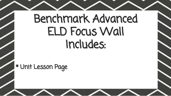 Benchmark Advanced Second Grade ELD Focus Wall Unit 3 (Lessons 1-15)