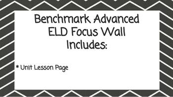 Benchmark Advanced Second Grade ELD Focus Wall Unit 6 (Les