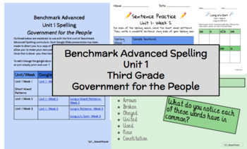 Benchmark Advanced Third Grade, Unit 1 Spelling Supplemental Material