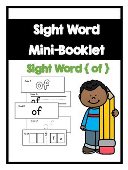 Benchmark Aligned Kindergarten Sight Word Mini-Booklet {Sight Word of}