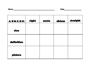 Benchmark Angle Graphic Organizer