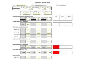 Benchmark Assessment Recording Form - Fountas & Pinnell