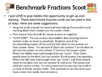 Benchmark Fractions Scoot - task cards with real life examples