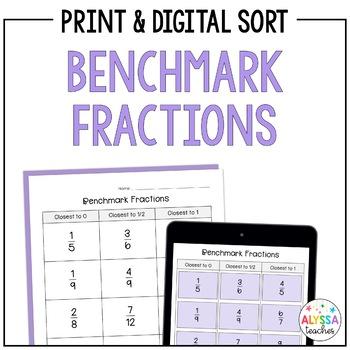 Benchmark Fractions Worksheet   Teachers Pay Teachers