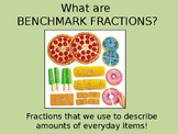 Benchmark Fractions practice identifying real life fractions PowerPoint
