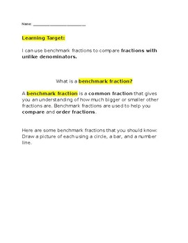 Benchmark Fractions Worksheet | Teachers Pay Teachers