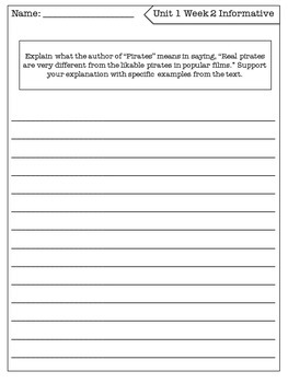 Benchmark Literacy 5th Grade Writing to Sources Prompts