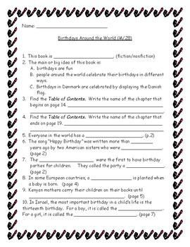Benchmark Literacy: Extension for Birthdays Around the World (M/28)