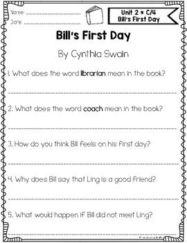 Benchmark Literacy First Grade Comprehension Worksheets Unit 2