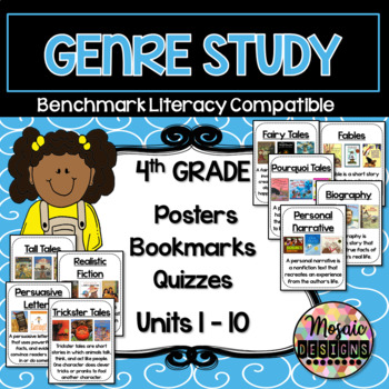 Benchmark Literacy Genre Posters, Bookmarks, and Quizzes