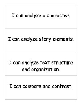 "Benchmark Literacy ""I Can"" Objective or Lesson Target Cards"