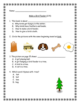 Benchmark Literacy:  Make A Bird Feeder (Leveled Reader C/4) Extension