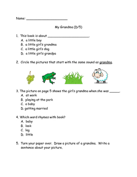 Benchmark Literacy: My Grandma (D/5) Extension/Comprehension Check