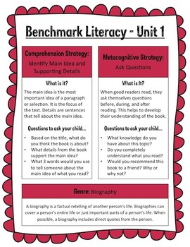 Benchmark Literacy Parent Newsletters for 3rd Grade