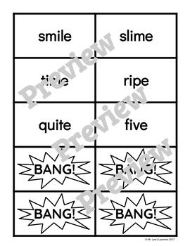"Benchmark Literacy Phonics 1st Grade Unit 10 ""BANG"" game"
