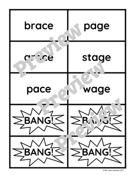 "Benchmark Literacy Phonics 1st Grade Unit 30 ""BANG"" game"