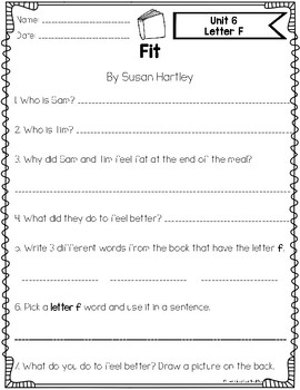 Benchmark Literacy Phonics Decodable Book Comprehension Papers {Kindergarten}