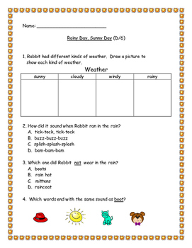 Benchmark Literacy: Rainy Day, Sunny Day (D/6) Leveled Reader Extension
