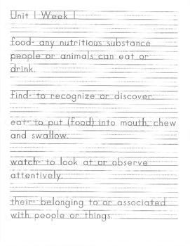 Benchmark Literacy: Vocabulary Definitions Set 1