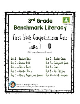 Benchmark Literacy, Wk 1 Comprehension for Google Classroom