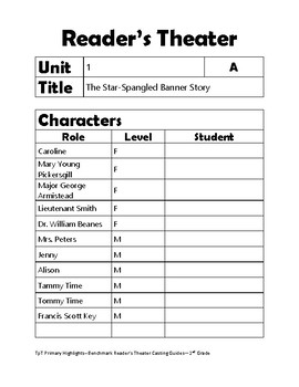 Benchmark Reader's Theater Casting Guide 2nd Grade