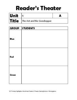 Benchmark Reader's Theater Grouping/Casting Guide Unit 6 Kindergarten
