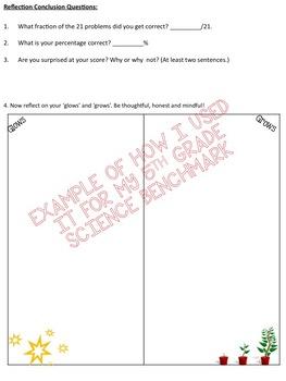 Benchmark Student Self-Reflection **EDITABLE** Useful for any subject benchmark!