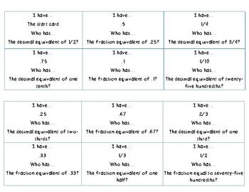 Benchmark fractions & decimals
