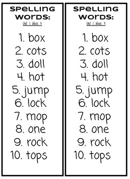 Benchmark spelling test with lowercase letters units 1-10 First grade